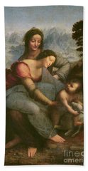 Virgin And Child With Saint Anne Hand Towel