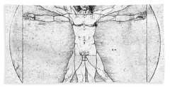 Vitruvian Guitar Man Bw Bath Towel