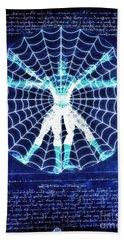 Vitruvian Spiderman White In The Sky Hand Towel