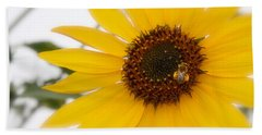 Hand Towel featuring the photograph Vivid Sunflower With Bee Fine Art Nature Photography  by Jerry Cowart