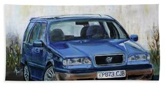 Bath Towel featuring the painting Volvo by Anna Ruzsan