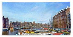 Bath Towel featuring the photograph Waalseilandgracht Amsterdam by Frans Blok
