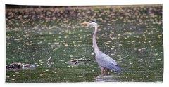 Bath Towel featuring the photograph Wading Crane by Susan  McMenamin