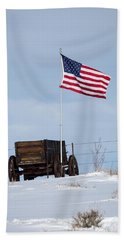 Wagon And Flag Hand Towel