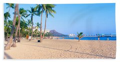 Waikiki Beach And Diamond Head Hand Towel