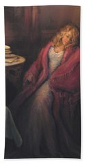 Bath Towel featuring the painting Waiting by Donna Tucker