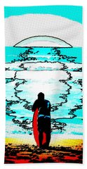 Hand Towel featuring the mixed media The Wave by Lisa McKinney