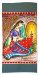 Hand Towel featuring the painting Waiting  by Harsh Malik