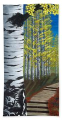 Walk Through Aspens Triptych 1 Bath Towel