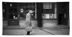 Walking Down The Street Hand Towel by Chevy Fleet
