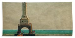 Walking On The Breakwater Hand Towel by Mary Machare