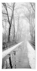 Walkway Snow And Fog Nyc Bath Towel