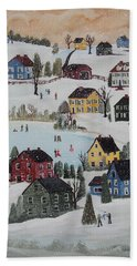 Hand Towel featuring the painting Waltzing Snow by Virginia Coyle