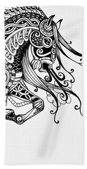 Bath Towel featuring the drawing War Horse - Zentangle by Jani Freimann