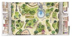 Washington Square Park Map Bath Towel