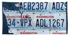 Washington State License Plate Map Art Hand Towel