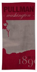 Washington State University Cougars Pullman College Town State Map Poster Series No 123 Hand Towel