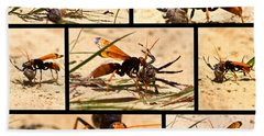 Hand Towel featuring the photograph Wasp And His Kill by Miroslava Jurcik