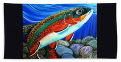 Hand Towel featuring the painting Brook Trout  by Jackie Carpenter