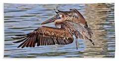 Water Ballet - Brown Pelican Hand Towel by HH Photography of Florida