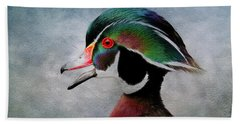 Water Color Wood Duck Hand Towel by Steve McKinzie