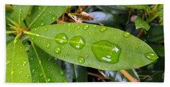 Water Droplets On Leaf Bath Towel by Joyce  Wasser
