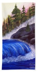 Bath Towel featuring the painting Water Fall By Rocks by Brenda Brown