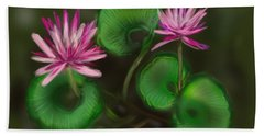 Hand Towel featuring the digital art Water Lilies by Christine Fournier