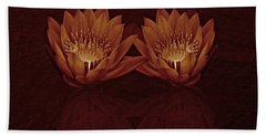 Water Lilies In Deep Sepia Bath Towel