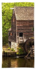 Hand Towel featuring the photograph Water Wheel At Philipsburg Manor Mill House by Jerry Cowart