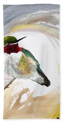 Watercolor - Broad-tailed Hummingbird Hand Towel
