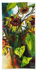 Hand Towel featuring the painting Sunflowers On The Rise by Kathy Braud