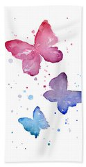 Watercolor Butterflies Hand Towel by Olga Shvartsur
