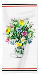 Watercolor Flowers Bouquet In The Glass Vase Hand Towel
