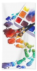 Watercolor Footprints Bath Towel