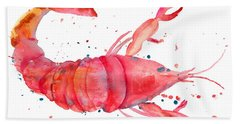 Watercolor Illustration Of Lobster Bath Towel