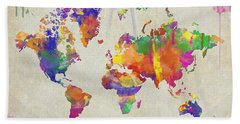 Watercolor Impression World Map Hand Towel