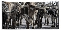 Watercolor Longhorns Hand Towel by Joan Carroll
