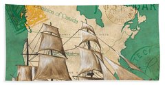 Watercolor Map 2 Bath Towel