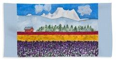 Watercolor Painting Landscape Of Skagit Valley Tulip Fields Art Bath Towel