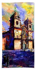 Watercolor Painting Of Church On The Plaza De Armas Cusco Peru Bath Towel