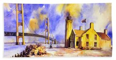 Watercolor Painting Of Ligthouse On Mackinaw Island- Michigan Hand Towel by Ryan Fox