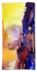 Watercolor Painting Of Street And Church Morelia Mexico Bath Towel