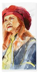 Bath Towel featuring the painting Watercolor Portrait Of An Old Lady by Greta Corens