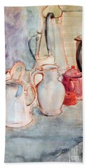 Watercolor Still Life With Red Can Bath Towel