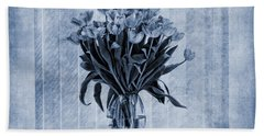 Watercolour Tulips In Blue Hand Towel