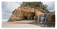 Waterfall Flowing Into The Pacific Ocean Hand Towel