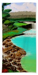 Hand Towel featuring the painting Waterfalls by Cyril Maza