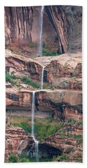 Waterfalls Down Cliffs In The Desert Hand Towel