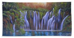 Bath Towel featuring the painting Waterfalls - Plitvice Lakes by Vesna Martinjak